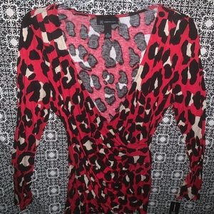 Red Leopard Long Sleeve Blouse